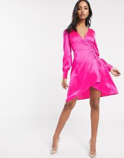 UNIQUE21 - Unique 21 – Wickelkleid aus Satin in Rosa