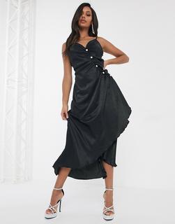 UNIQUE21 - Unique 21 – Kleid aus Satin mit strassbesetzten Knöpfen in Schwarz