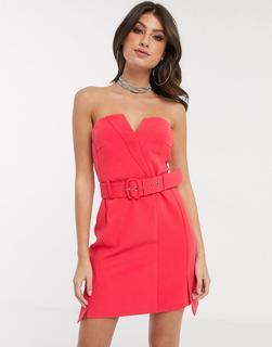 4th + Reckless - Trägerloses Kleid mit Schnelle in Himbeerrot-Rosa