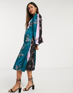 Liquorish - Kleid mit Ballonärmeln und Blumenmustermix-Mehrfarbig