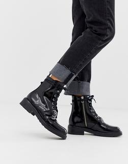 AllSaints - Donita – Schwarze Wander-Schnürstiefel aus Leder mit Schnalle