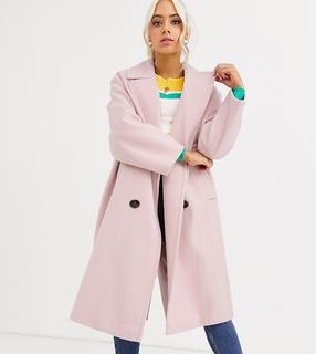 ASOS Petite - ASOS DESIGN Petite – Klassischer Mantel in Rosa mit auffälligen Knöpfen