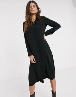 Vero Moda - Schwarzes Maxi-Hemdkleid mit Strassknopf