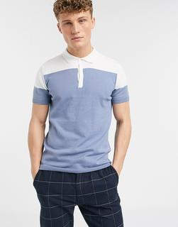 New Look - Gestricktes Polohemd mit Farbblockdesign in Hellblau