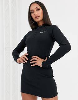 Nike - Langärmliges, schwarzes Minikleid