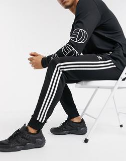 adidas Originals - Superstar – Enge Jogginghose mit 3 Streifen in Schwarz