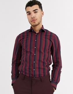 Calvin Klein - Schmales Hemd mit breiten Streifen-Rot