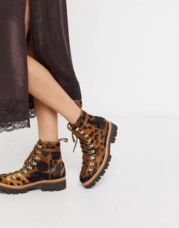 GRENSON - Nanette – Wanderstiefel aus Leder mit Leopardenmuster-Mehrfarbig