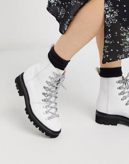 GRENSON - Nanette – Wanderstiefel aus weißem Leder mit kontrastierender schwarzer Sohle