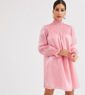 Glamorous Tall - Hochgeschlossenes, ausgestelltes Kleid aus Organza mit Raffung-Rosa