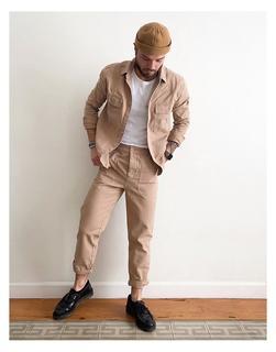 ASOS DESIGN - Hemdjacke mit zwei Taschen in verwaschenem Staubrosa, Kombiteil