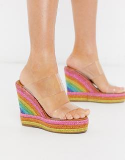 Kurt Geiger London - Ariana – Pantoletten mit Keilabsatz in Regenbogenfarben-Mehrfarbig