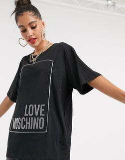 Love Moschino - T-Shirt mit gummiertem Logo-Schwarz