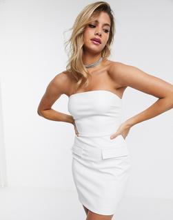 4th + Reckless - Kurzes, trägerloses PU-Kleid in Weiß