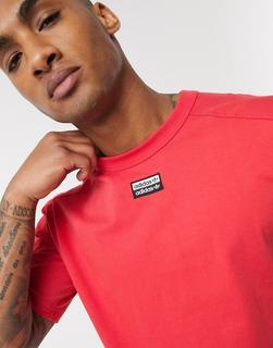 adidas Originals - RYV – Rotes T-Shirt mit mittigem Logo-Orange