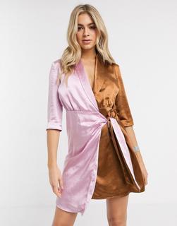 UNIQUE21 - Unique 21 – 2-farbiges Wickelkleid mit Kontrastdesign-Mehrfarbig