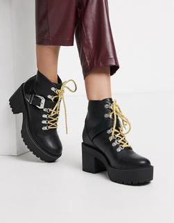 Public Desire - Suzie – Ankle-Boot mit dicker Sohle und austauschbaren Schnürsenkeln in Schwarz