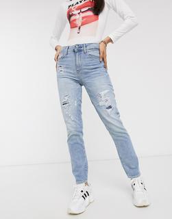 G-Star - 3301 – Knöchellange, hohe und gerade geschnittene Jeans im Stil der90er Jahre-Blau