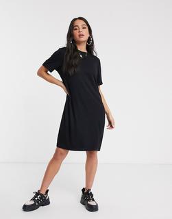 Monki - Mini-T-Shirt-Kleid in Schwarz