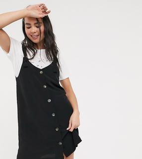 Monki - Nea – Durchgeknöpftes, ärmelloses Kleid in Schwarz