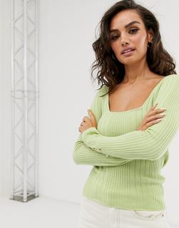 ASOS DESIGN - Fein gerippter Pullover mit eckigem Kragen und Bündchen mit Knöpfen-Grün