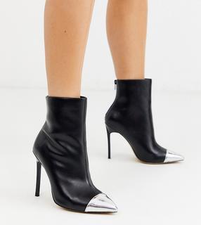 London Rebel - Spitze Stiefel mit Stiletto-Absatz und silberner Zehenkappe, weite Passform-Schwarz