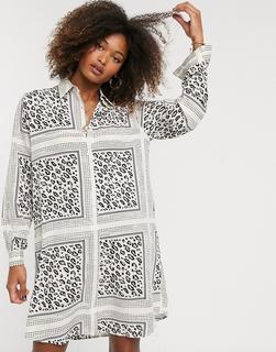 Liquorish - Hemdkleid mit Schal- und Animal-Print-Mehrfarbig