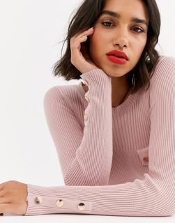 ASOS DESIGN - Gerippter Pullover mit geknöpfter Tasche-Beige