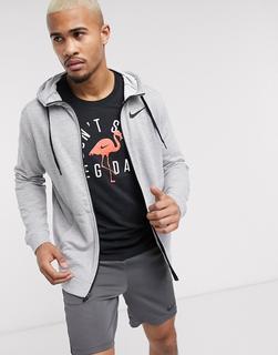 Nike Training - Kapuzenjacke mit Reißverschluss in Grau