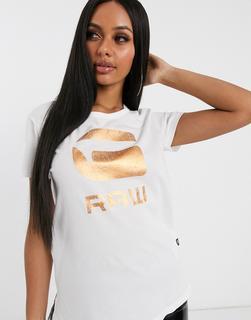 G-Star - T-Shirt mit Folienlogo-Weiß