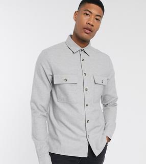 ASOS DESIGN - Tall – Strukturierte Hemdjacke aus Wollmischung in Grau