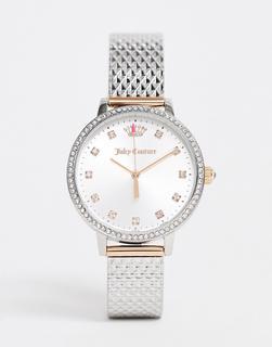 Juicy Couture - Armbanduhr in Gold und Silber mit strassbesetztem Kronenlogo