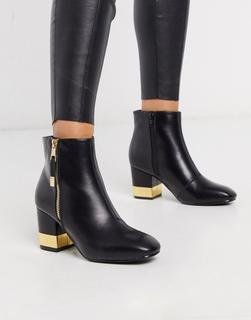 Truffle Collection - Schwarze Stiefel mit Absatz und Schnalle