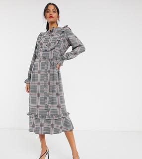 Vero Moda - Tall – Kariertes Hemdkleid mit Rüschen vorn-Mehrfarbig