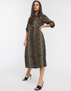 Vero Moda - Midi-Hemdkleid mit Puffärmeln und Leopardenfellmuster-Mehrfarbig
