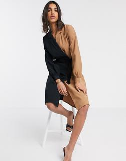 Vero Moda - Hemdkleid mit Farbblockdesign in Schwarz und Bronze