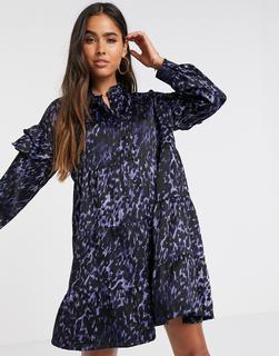 Vero Moda - Hängerkleid aus Satin mit Tierfellprint in Violett-Blau