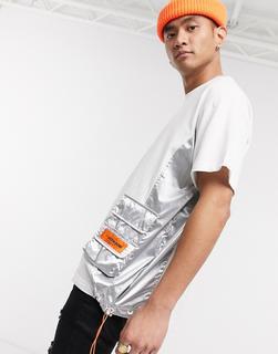 Sixth June - Weißes T-Shirt mit Bahnen in Metallic