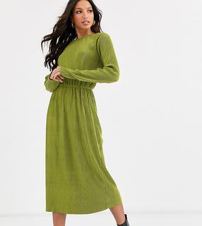 Glamorous Tall - Plissiertes Midikleid-Grün