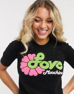 Love Moschino - T-Shirt mit Retro-Blumenlogo-Schwarz