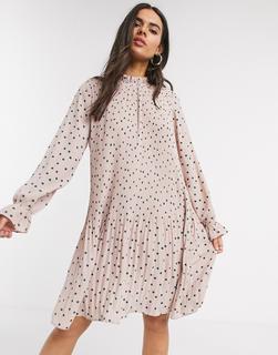 Vero Moda - Plissiertes Minikleid mit hohem Ausschnitt, mit rosa Punkten bedruckt-Mehrfarbig