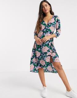 Liquorish - Midi-Wickelkleid mit übergroßem Blumenmuster-Mehrfarbig