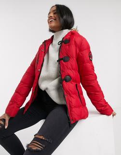 Brave Soul - Wizard – Wattierter Mantel mit kunstpelzbesetzter Kapuze-Rot