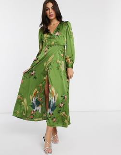 Liquorish - Maxi-Wickelkleid mit grünem Vogelmuster