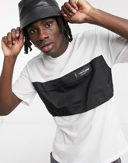 Sixth June - T-Shirt in Schwarz mit Utility-Tasche in Weiß