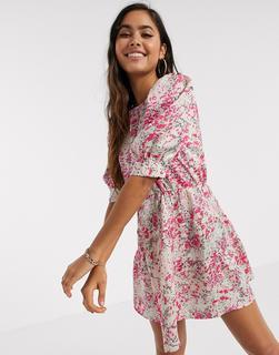 Vero Moda - Rosa geblümtes Minikleid mit Puffärmeln-Mehrfarbig
