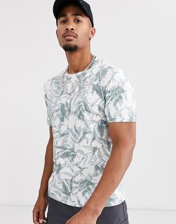 Celio - Weißes T-Shirt mit durchgehendem Blattprint