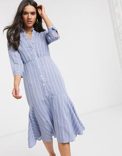 Liquorish - Midi-Hemdkleid mit Schößchensaum und Nadelstreifen-Blau