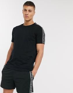 Calvin Klein - Core Beach – Schwarzes Rundhals-T-Shirt mit schwarzweißem Logoband, Kombiteil