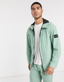Calvin Klein - Grüne Nylonjacke in Knitter-Optik